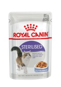Sterilised in jelly pouch cat food